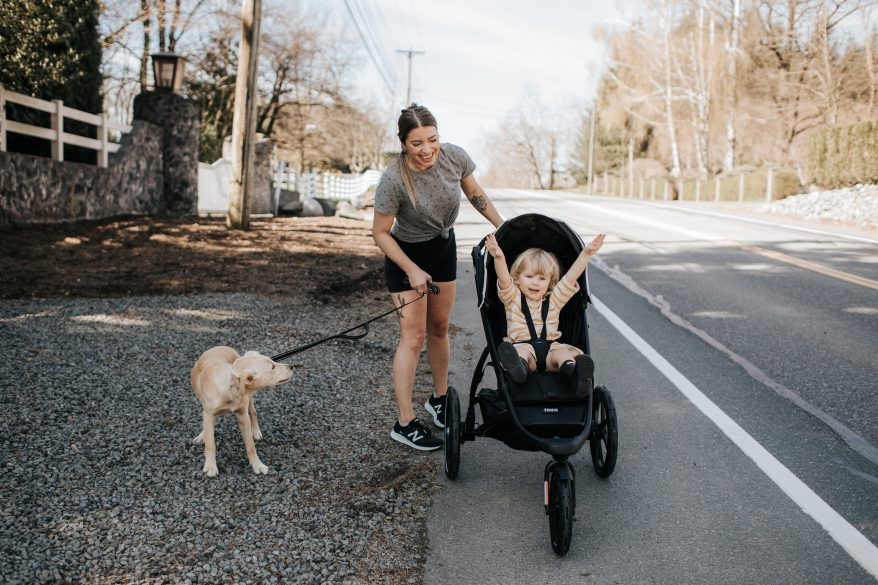 Going for a run with our puppy and child in the Thule jogging stroller