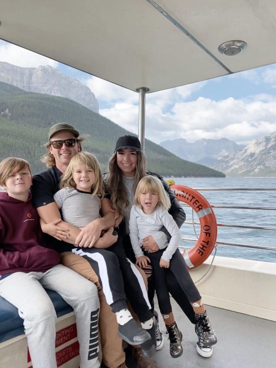 Lake Minnewanka Boat Tour Family PHoto