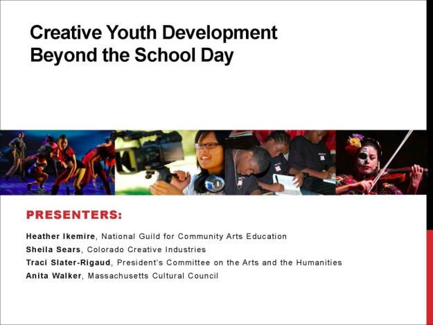 Cover slide from Creative Youth Devlopmentment Beyond the School Day presentation