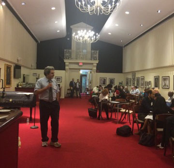 Eric Booth leads learning session for more than 40 Massachusetts teaching artists on October 13, 2016 at the META Fellowship launch at Boston's Symphony Hall.