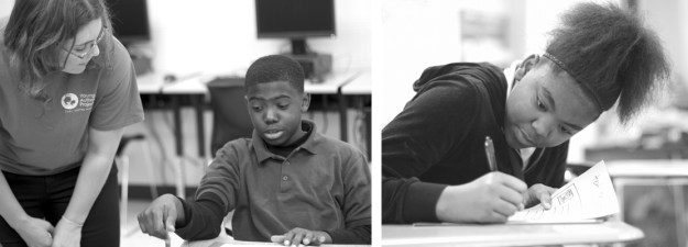 Left: Writing Fellow, Michelle Hoover, mentors John Dickerson after school during a Young Author Project workshop. Photo: Maggie Harney. Right: Deep Center's Young Author Project enables Hubert Middle School student Crystal Newton to develop literary skills, by writing stories and poems about her own life. Photo: Maggie Harney.