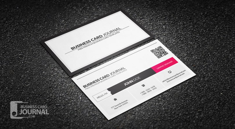 Metro Style Business Card Template With QR Code