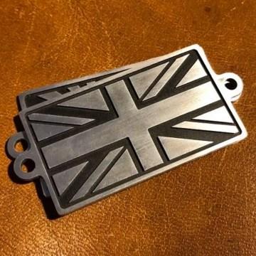 badges union jack aluminium fraisé