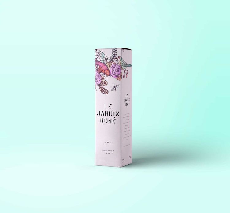 diseño packaging vino tatuado floral