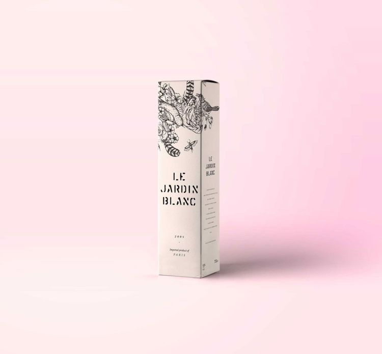 diseño packaging vino tatuado floral