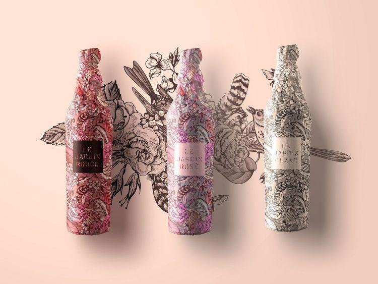 packaging vino tatuado floral