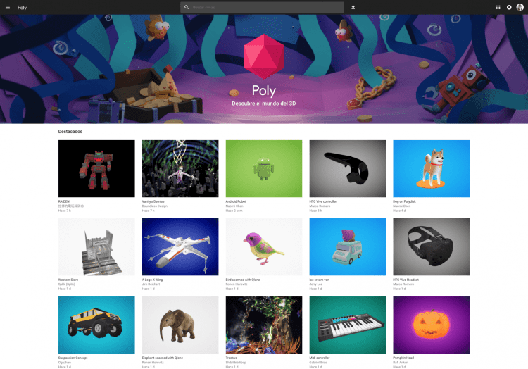 google Poly para realidad virtual y ar