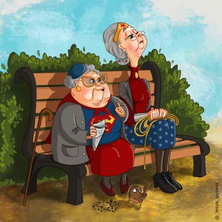 Lesya artista ruso ilustraciones de superheroes y villanos jubilados
