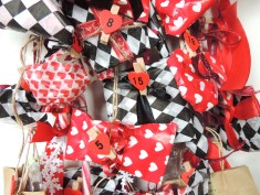 wrapped gifts with numbered heart pegs