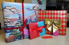presents wrapped with gift bows