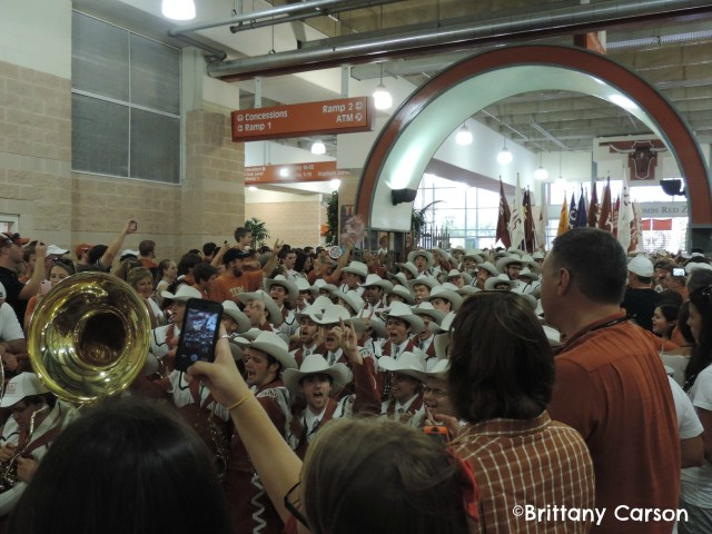 Mini Pep Rally before game with fans & marching band