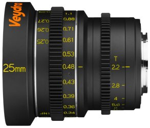 Veydra 25mm mini prime lens with metric scale, for Super 16/Micro Four Thirds and Super 35/APS-C.