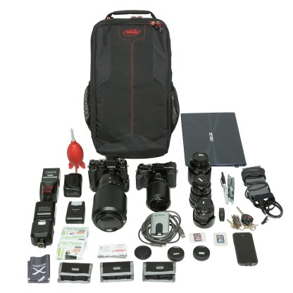 Think Tank Photo's SKB iSeries 3i-2011-7BP Backpack & Rolling Case, with Fujifilm cameras.
