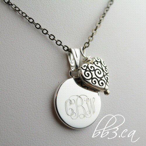 Sweetheart Keepsake Necklace Engraved with monogram