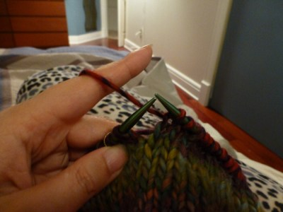 Picking vs. Throwing: Continental Knitting in my Jammies