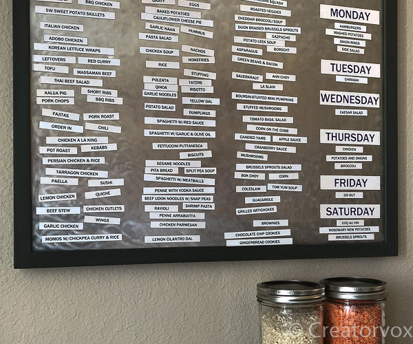 magnetic menu board organizer
