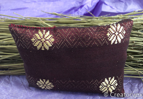 lavender sachet from upcycled pillow cover with whip stitched closure