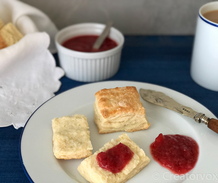 low sugar strawberry jam with biscuits