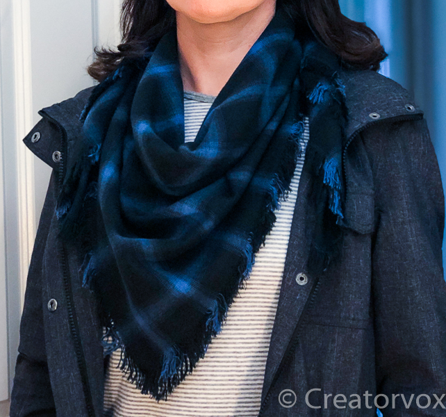 fabric scarf styled with gray jacket FI2