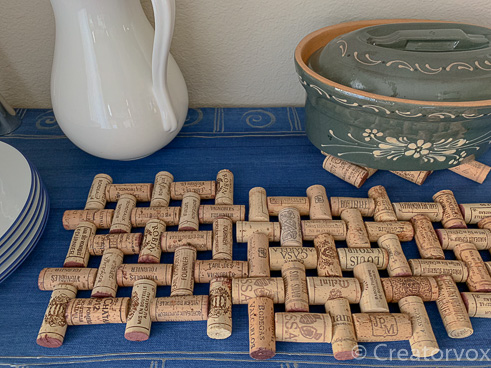wine cork trivet buffet surface