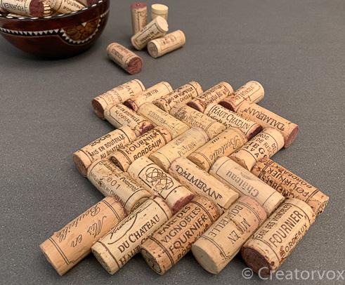 wine cork trivet herringbone pattern