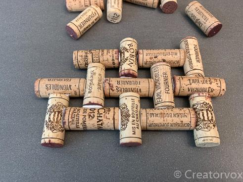 wine cork trivet project half finished