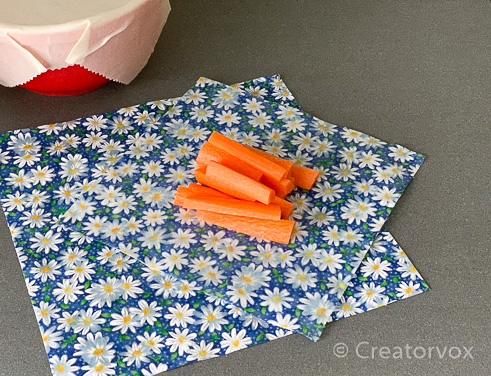 carrots ready to wrap in beeswax food wraps
