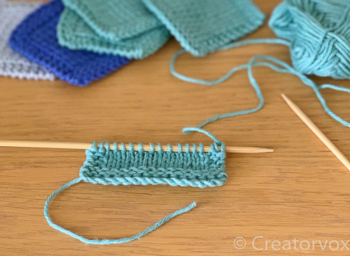 knit reusable makeup wipes pattern on the needles