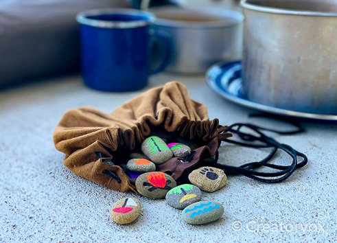 story stones with bag for travel