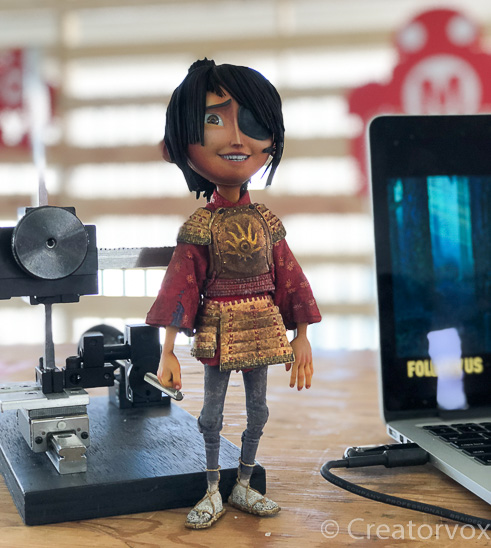 Kubo stop animation figure at Maker Faire
