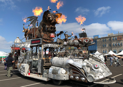 fire-breathing bus at Maker Faire