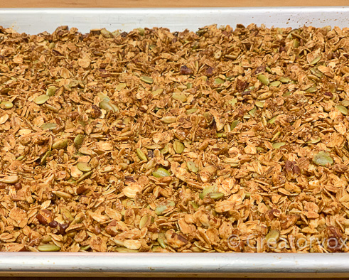 golden brown and lightly crispy granola