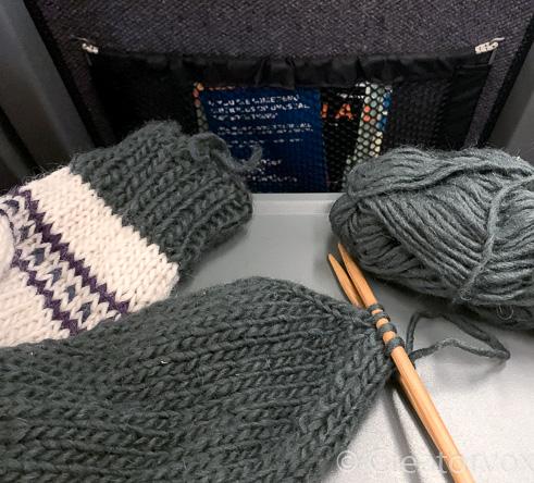 knit slipper toe ready for grafting