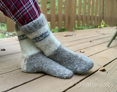 felted mukluk slippers knit from scrap yarn