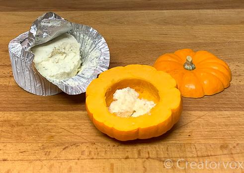 mini pumpkin with boursin cheese inside