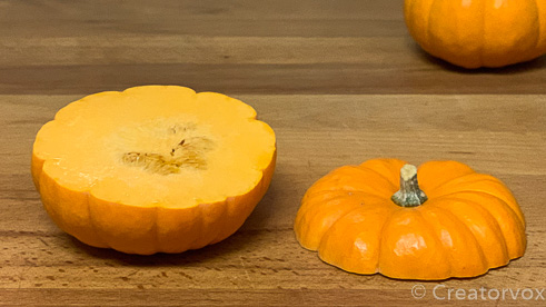 mini pumpkin with top cut off