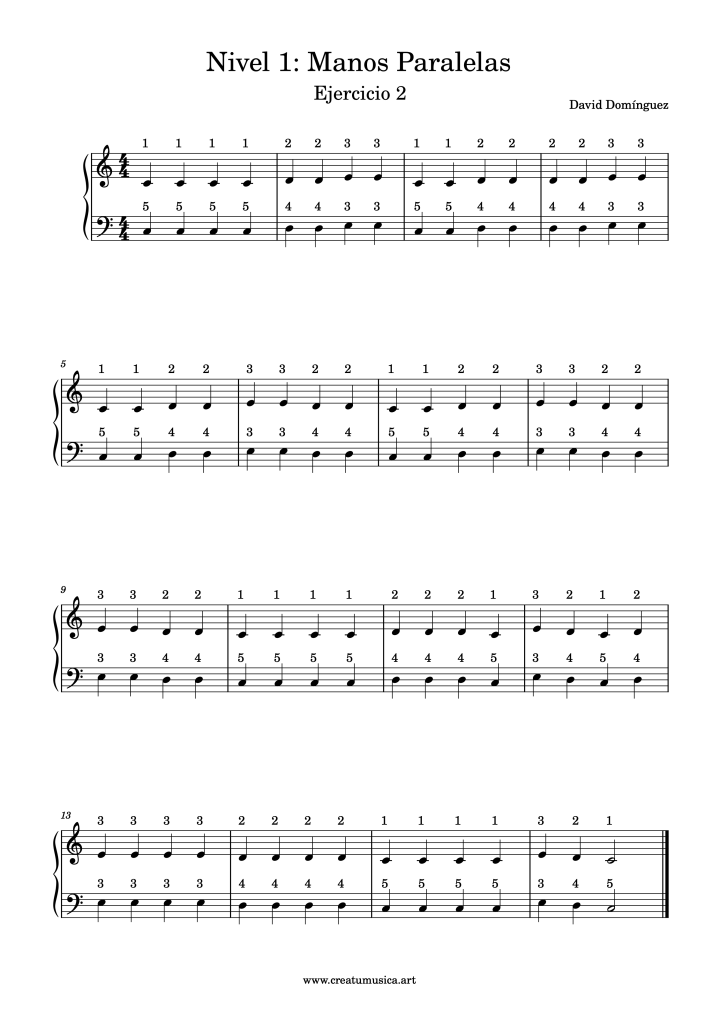 Ejercicios de digitación de piano