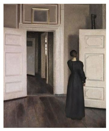 hammershoi interior with woman standing