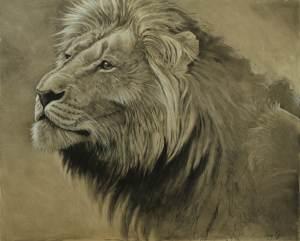 Lion Charcoal Aaron Blaise Animal Art