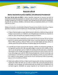 Posición oficial  Banco Nacional anuncia medidas ante Directriz Presidencial