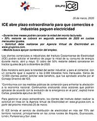 ICE abre plazo extraordinario para que comercios e industrias paguen electricidad