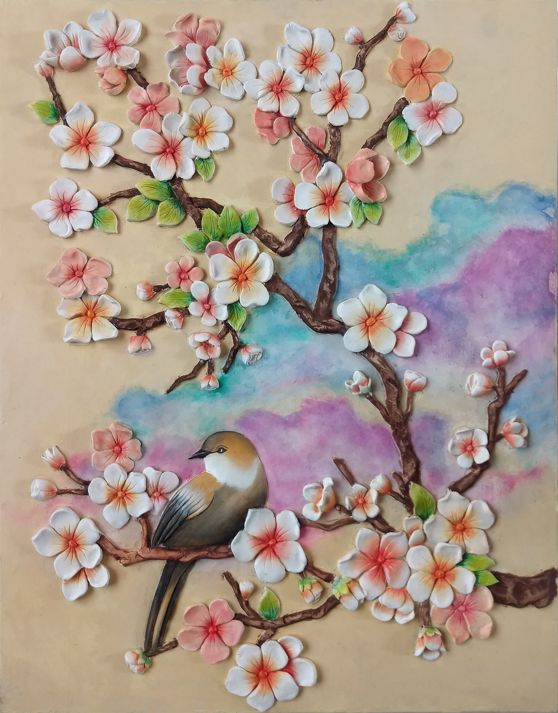 3D Clay Painting Cherry Blossom Flower
