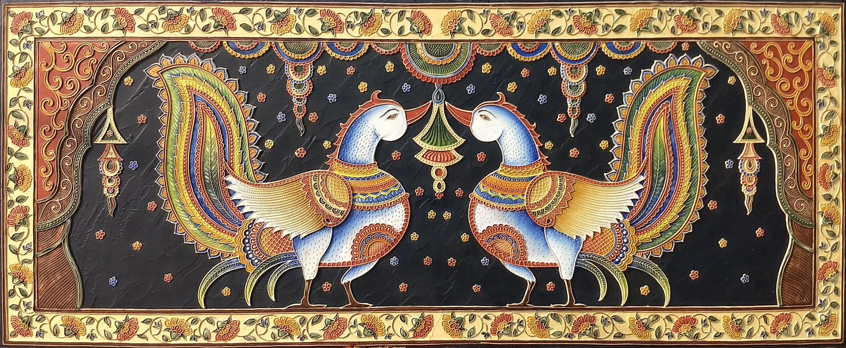 Relief Peacock Painting