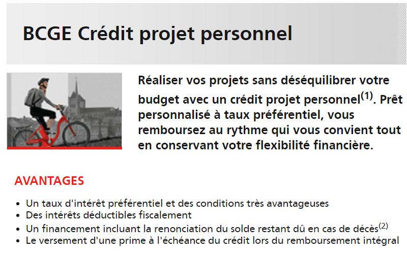 BCGE Crédit projet personnel à taux réduit