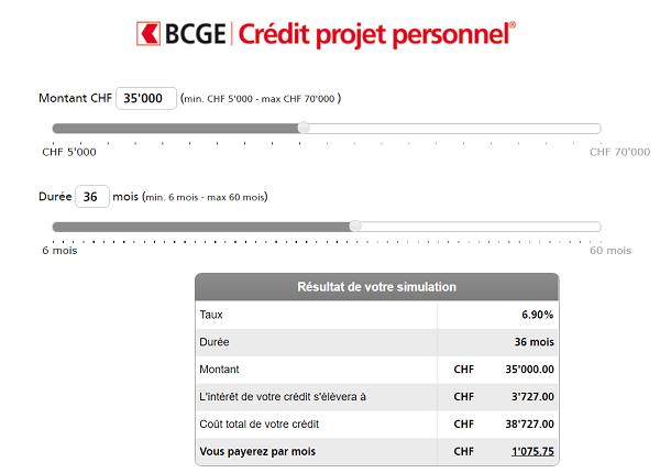 Simulation de crédit BCGE prêt personnel