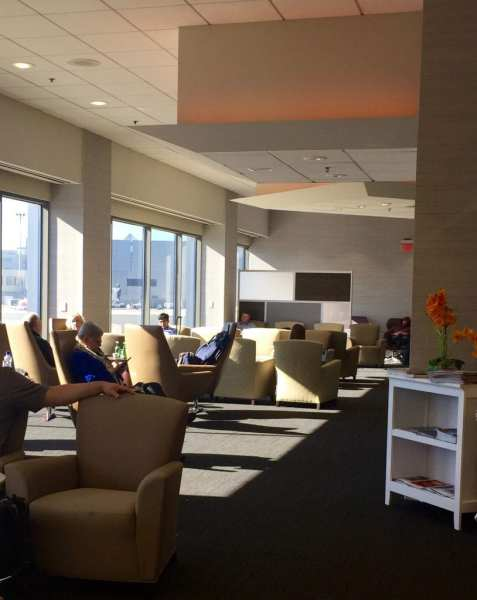 Seating area at the Lounge at Boston Logan Airport