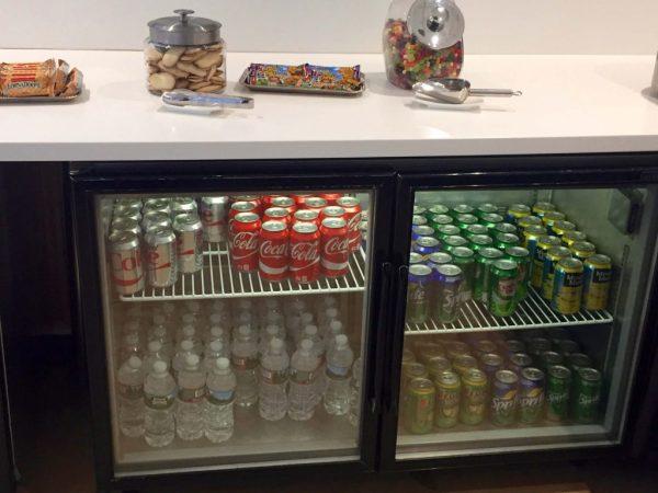 Soft drinks at the Lounge at Boston Logan Airport