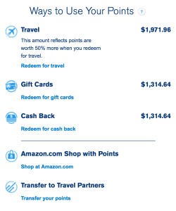 Chase Ultimate Rewards points value