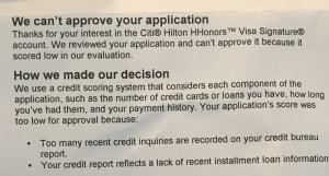 citi reject letter
