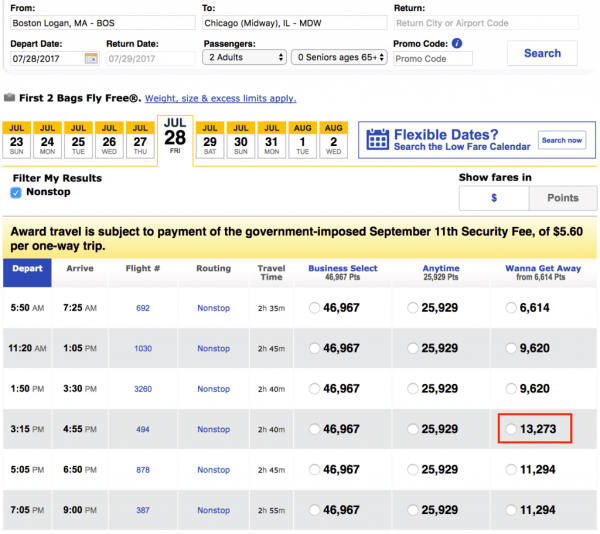 Southwest Award Flight Booking